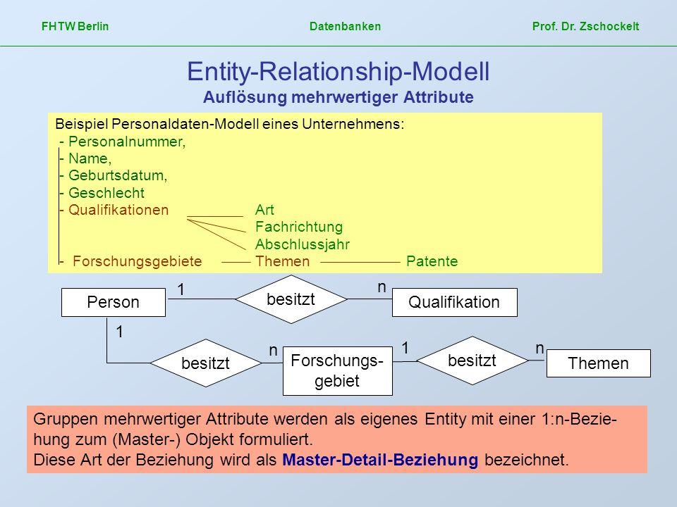 FHTW Berlin Datenbanken Prof. Dr. Zschockelt Entity-Relationship-Modell Auflösung mehrwertiger Attribute Beispiel Personaldaten-Modell eines Unternehm