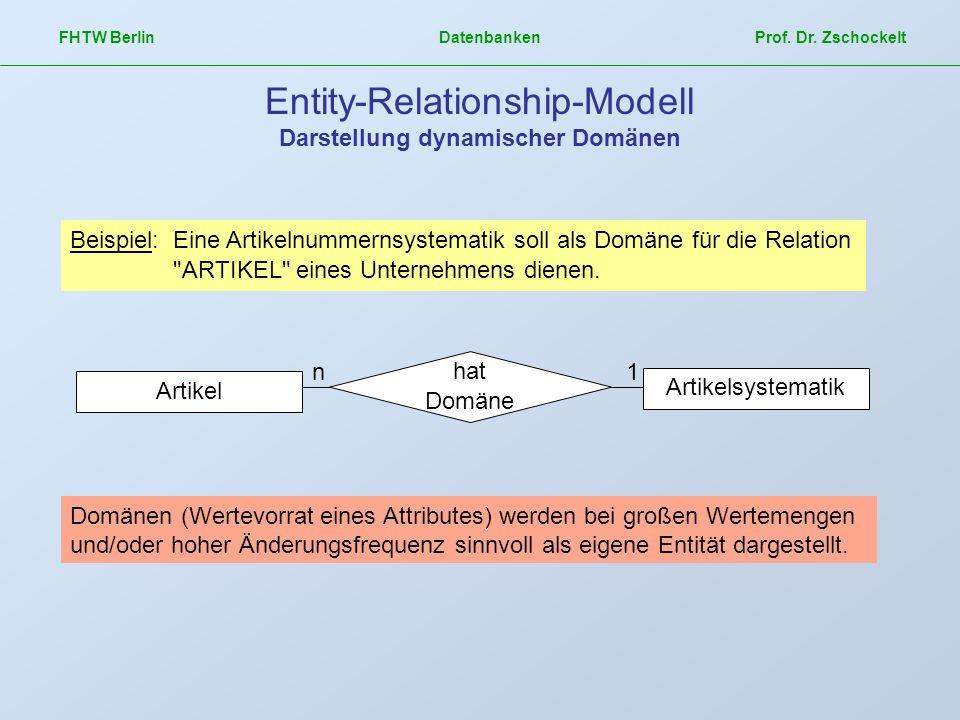 FHTW Berlin Datenbanken Prof. Dr. Zschockelt Entity-Relationship-Modell Darstellung dynamischer Domänen Domänen (Wertevorrat eines Attributes) werden