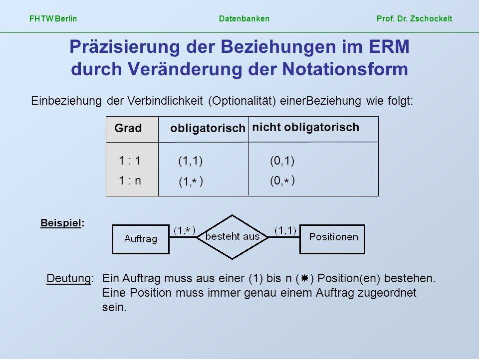 FHTW Berlin Datenbanken Prof. Dr. Zschockelt Präzisierung der Beziehungen im ERM durch Veränderung der Notationsform Gradobligatorisch nicht obligator