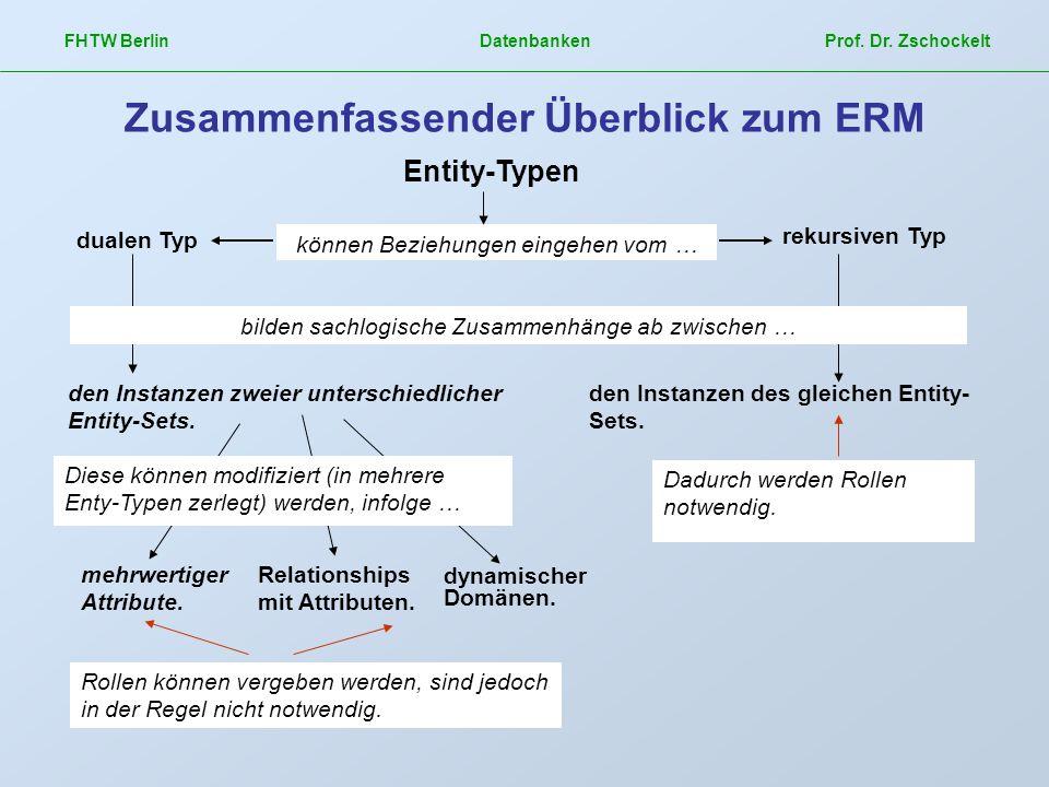 FHTW Berlin Datenbanken Prof. Dr. Zschockelt Zusammenfassender Überblick zum ERM dualen Typ rekursiven Typ den Instanzen zweier unterschiedlicher Enti