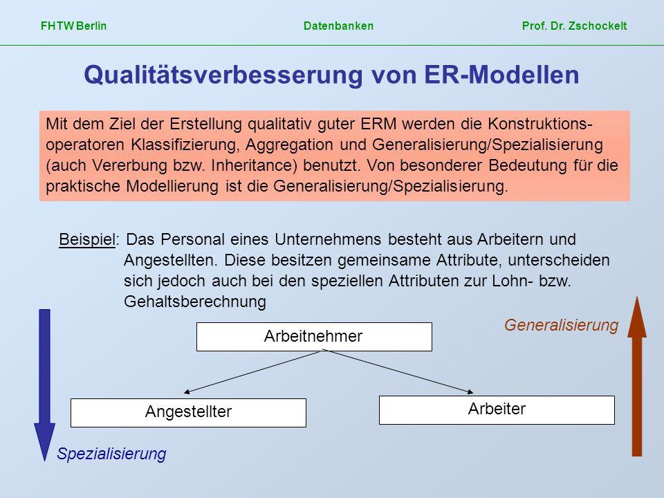 FHTW Berlin Datenbanken Prof. Dr. Zschockelt Qualitätsverbesserung von ER-Modellen Mit dem Ziel der Erstellung qualitativ guter ERM werden die Konstru