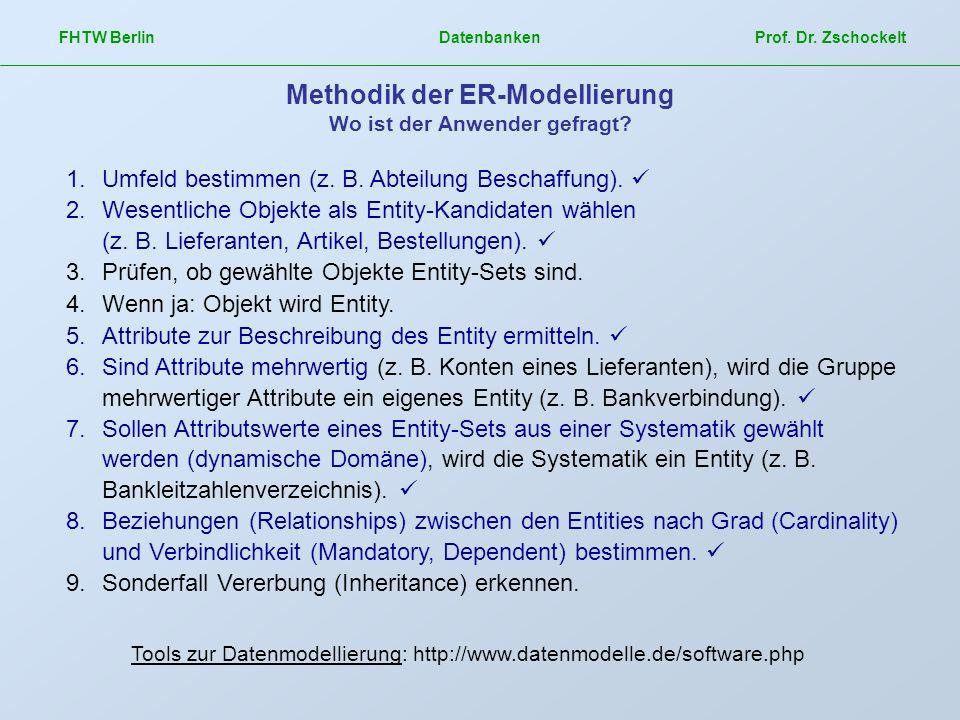FHTW Berlin Datenbanken Prof. Dr. Zschockelt Methodik der ER-Modellierung Wo ist der Anwender gefragt? 1.Umfeld bestimmen (z. B. Abteilung Beschaffung