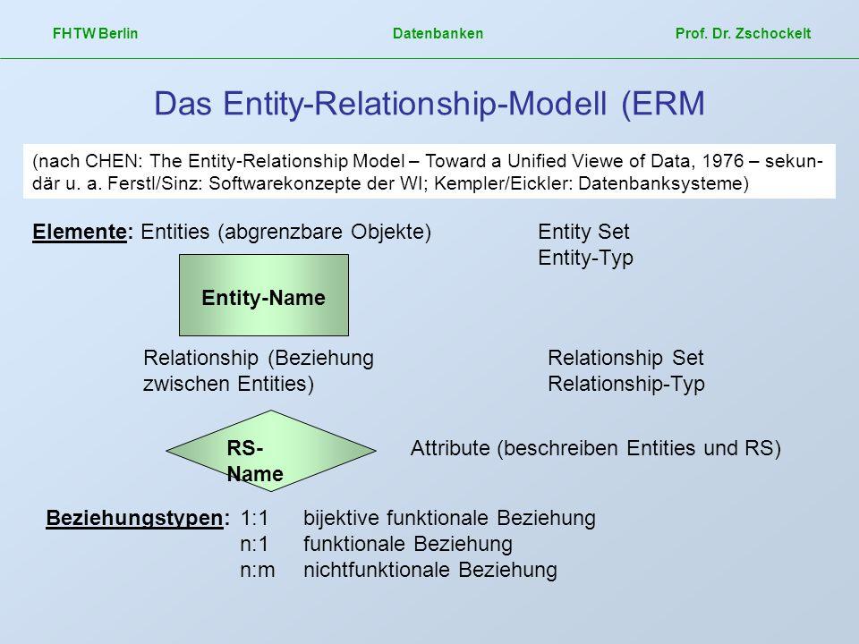 FHTW Berlin Datenbanken Prof. Dr. Zschockelt Das Entity-Relationship-Modell (ERM (nach CHEN: The Entity-Relationship Model – Toward a Unified Viewe of