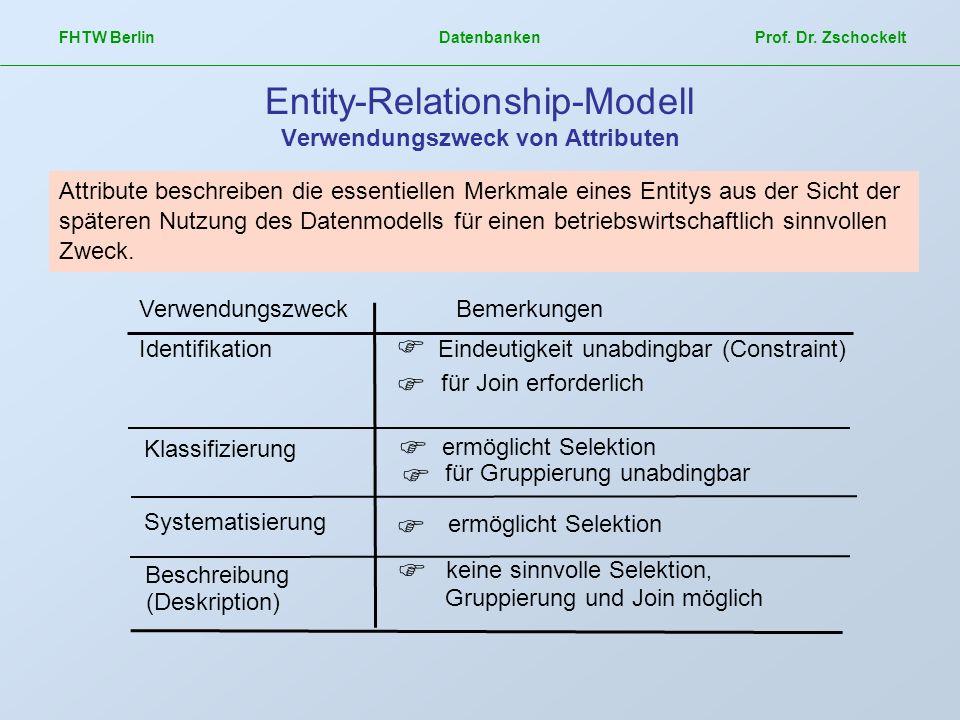 FHTW Berlin Datenbanken Prof. Dr. Zschockelt Entity-Relationship-Modell Verwendungszweck von Attributen Attribute beschreiben die essentiellen Merkmal