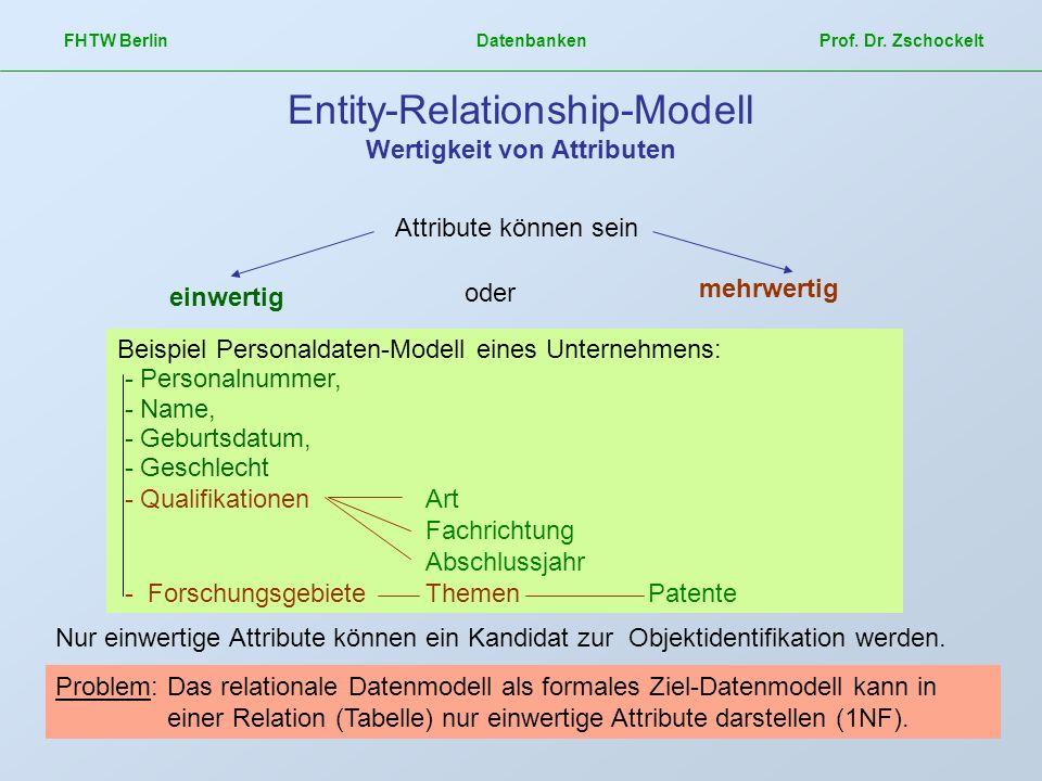 FHTW Berlin Datenbanken Prof. Dr. Zschockelt Entity-Relationship-Modell Wertigkeit von Attributen Attribute können sein einwertig oder mehrwertig Beis