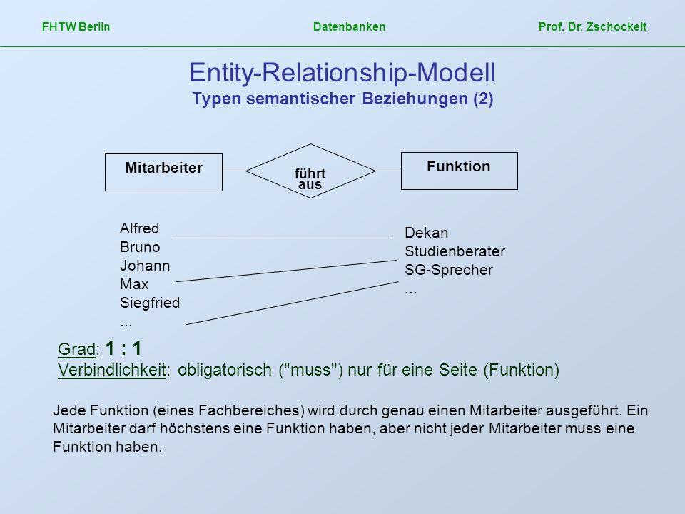 FHTW Berlin Datenbanken Prof. Dr. Zschockelt Entity-Relationship-Modell Typen semantischer Beziehungen (2) Mitarbeiter Funktion Dekan Studienberater S