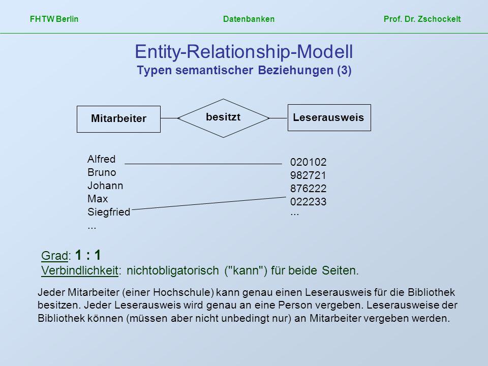 FHTW Berlin Datenbanken Prof. Dr. Zschockelt Entity-Relationship-Modell Typen semantischer Beziehungen (3) Grad: 1 : 1 Verbindlichkeit: nichtobligator
