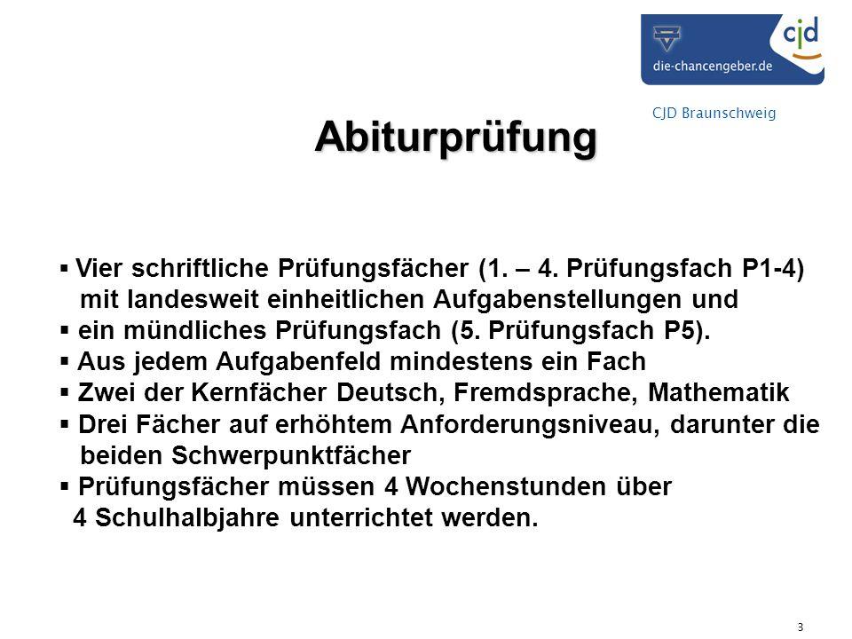 CJD Braunschweig 3 Abiturprüfung Vier schriftliche Prüfungsfächer (1. – 4. Prüfungsfach P1-4) mit landesweit einheitlichen Aufgabenstellungen und ein
