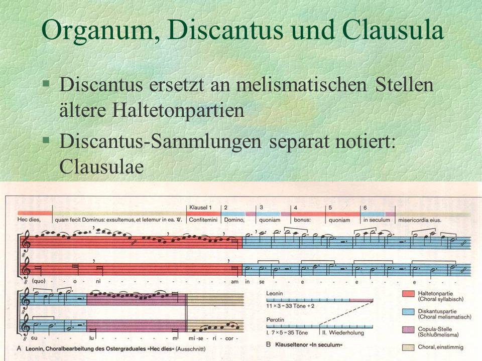 Organum, Discantus und Clausula §Discantus ersetzt an melismatischen Stellen ältere Haltetonpartien §Discantus-Sammlungen separat notiert: Clausulae