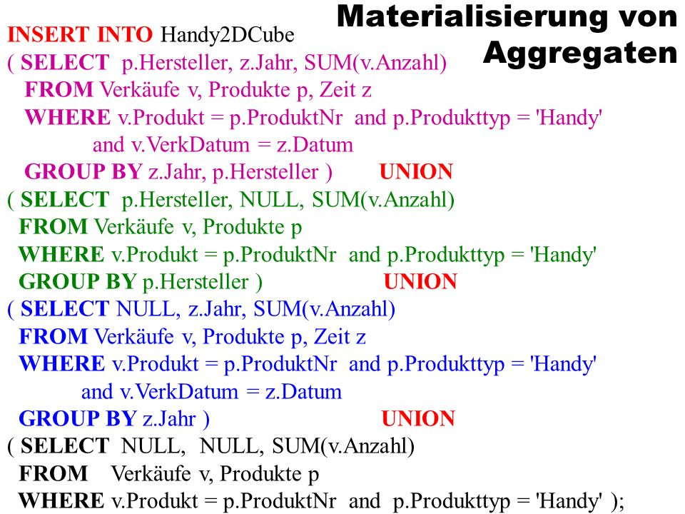 Materialisierung von Aggregaten INSERT INTO Handy2DCube ( SELECT p.Hersteller, z.Jahr, SUM(v.Anzahl) FROM Verkäufe v, Produkte p, Zeit z WHERE v.Produkt = p.ProduktNr and p.Produkttyp = Handy and v.VerkDatum = z.Datum GROUP BY z.Jahr, p.Hersteller ) UNION ( SELECT p.Hersteller, NULL, SUM(v.Anzahl) FROM Verkäufe v, Produkte p WHERE v.Produkt = p.ProduktNr and p.Produkttyp = Handy GROUP BY p.Hersteller ) UNION ( SELECT NULL, z.Jahr, SUM(v.Anzahl) FROM Verkäufe v, Produkte p, Zeit z WHERE v.Produkt = p.ProduktNr and p.Produkttyp = Handy and v.VerkDatum = z.Datum GROUP BY z.Jahr ) UNION ( SELECT NULL, NULL, SUM(v.Anzahl) FROM Verkäufe v, Produkte p WHERE v.Produkt = p.ProduktNr and p.Produkttyp = Handy );
