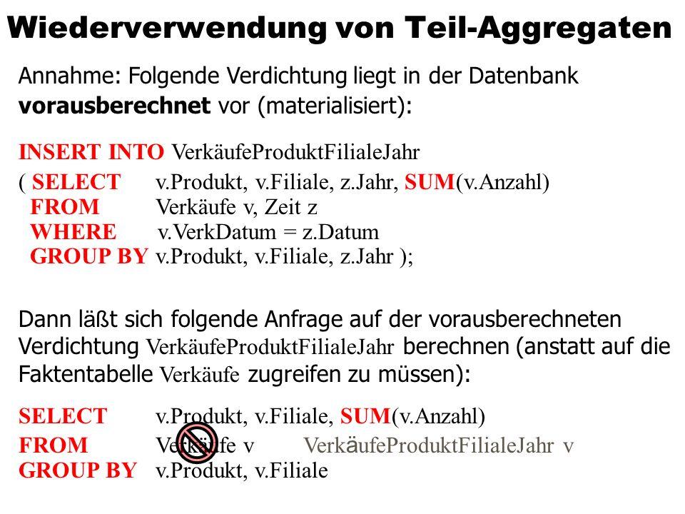 Wiederverwendung von Teil-Aggregaten Annahme: Folgende Verdichtung liegt in der Datenbank vorausberechnet vor (materialisiert): INSERT INTO VerkäufePr
