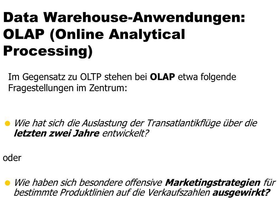 Data Warehouse-Anwendungen: OLAP (Online Analytical Processing) Wie hat sich die Auslastung der Transatlantikflüge über die letzten zwei Jahre entwick