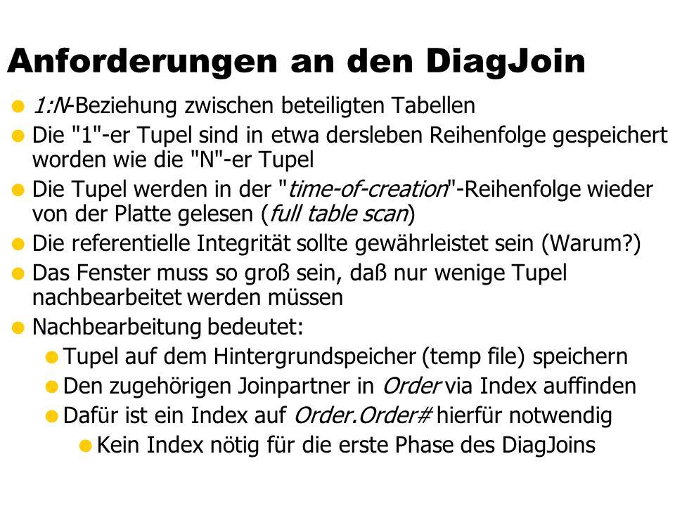 Anforderungen an den DiagJoin 1:N-Beziehung zwischen beteiligten Tabellen Die