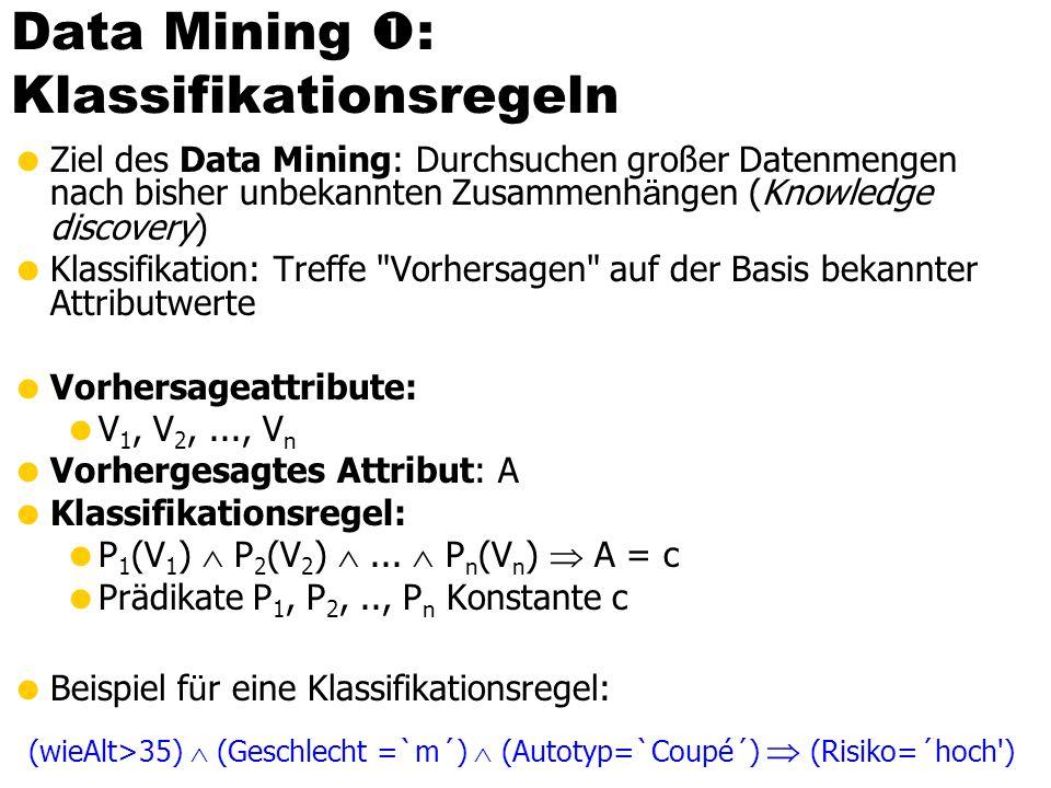 Data Mining : Klassifikationsregeln Ziel des Data Mining: Durchsuchen großer Datenmengen nach bisher unbekannten Zusammenh ä ngen (Knowledge discovery