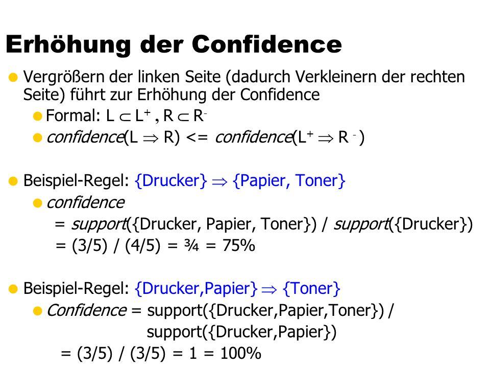 Erhöhung der Confidence Vergrößern der linken Seite (dadurch Verkleinern der rechten Seite) führt zur Erhöhung der Confidence Formal: L L +, R R - con