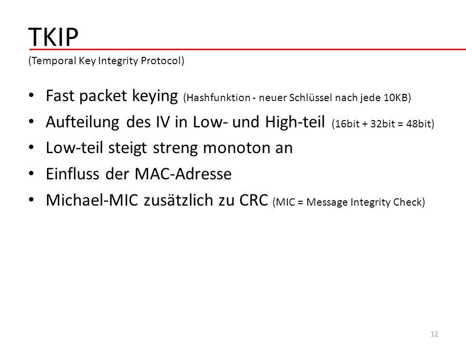 TKIP (Temporal Key Integrity Protocol) Fast packet keying (Hashfunktion - neuer Schlüssel nach jede 10KB) Aufteilung des IV in Low- und High-teil (16b