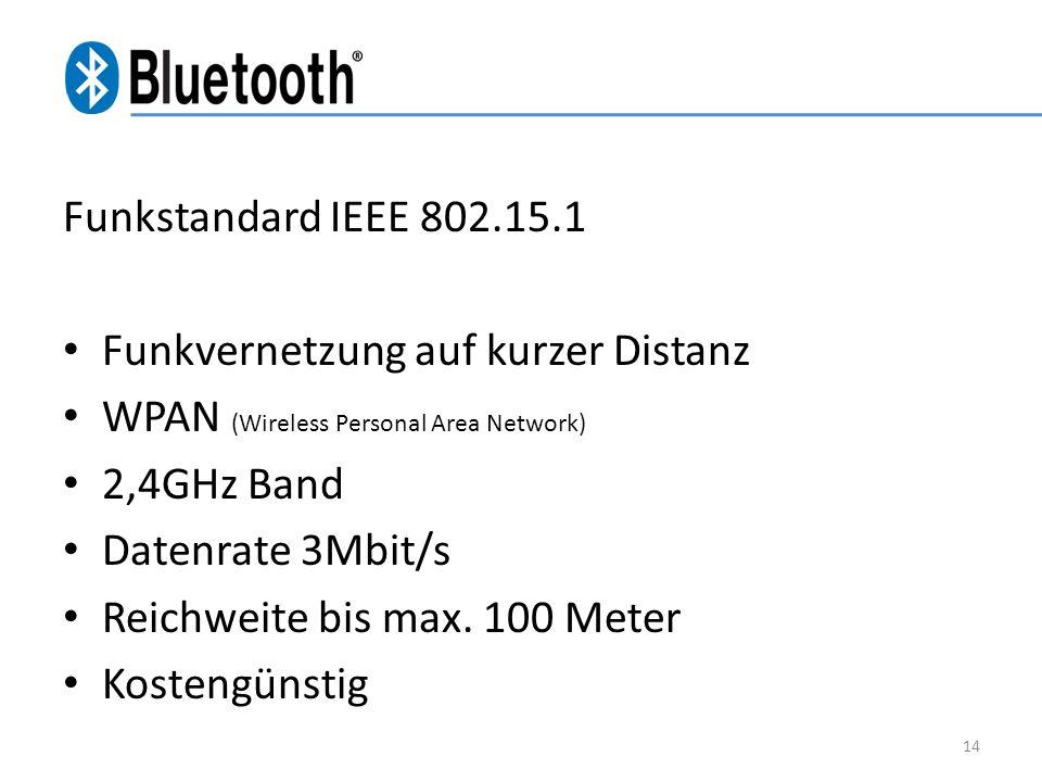 Funkstandard IEEE 802.15.1 Funkvernetzung auf kurzer Distanz WPAN (Wireless Personal Area Network) 2,4GHz Band Datenrate 3Mbit/s Reichweite bis max. 1