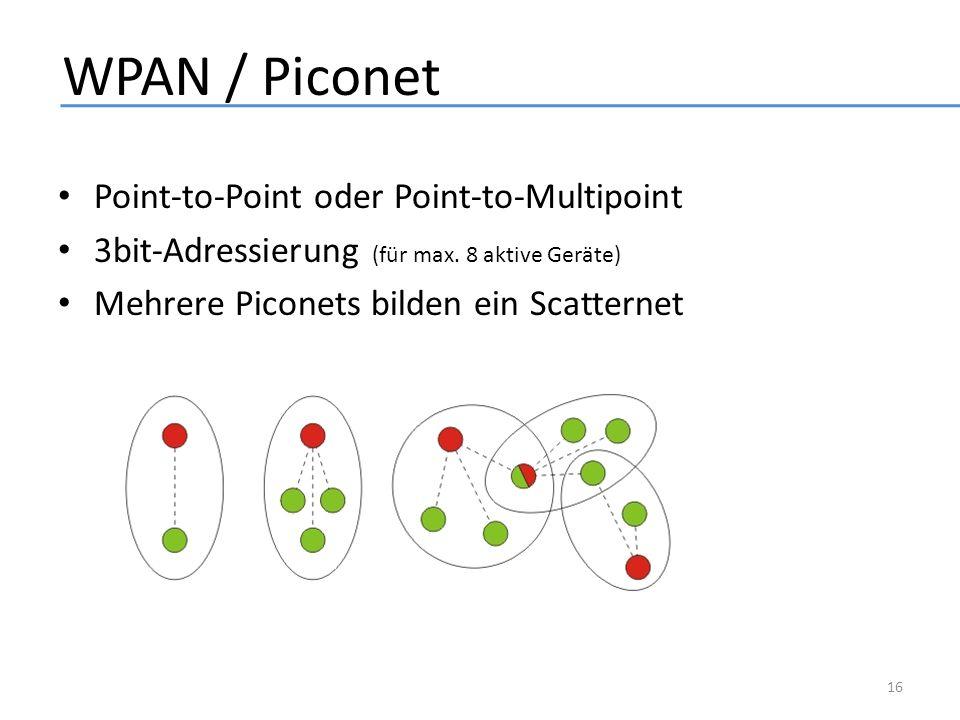 WPAN / Piconet Point-to-Point oder Point-to-Multipoint 3bit-Adressierung (für max. 8 aktive Geräte) Mehrere Piconets bilden ein Scatternet 16