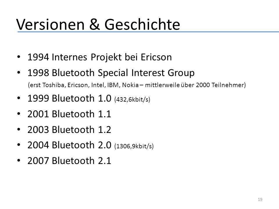 Versionen & Geschichte 1994 Internes Projekt bei Ericson 1998 Bluetooth Special Interest Group (erst Toshiba, Ericson, Intel, IBM, Nokia – mittlerweil