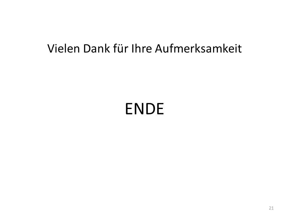 Vielen Dank für Ihre Aufmerksamkeit ENDE 21