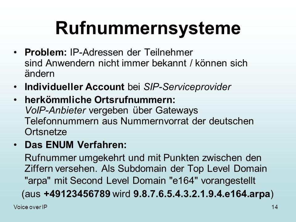14Voice over IP Rufnummernsysteme Problem: IP-Adressen der Teilnehmer sind Anwendern nicht immer bekannt / können sich ändern Individueller Account be