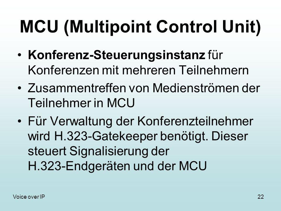 22Voice over IP MCU (Multipoint Control Unit) Konferenz-Steuerungsinstanz für Konferenzen mit mehreren Teilnehmern Zusammentreffen von Medienströmen der Teilnehmer in MCU Für Verwaltung der Konferenzteilnehmer wird H.323-Gatekeeper benötigt.