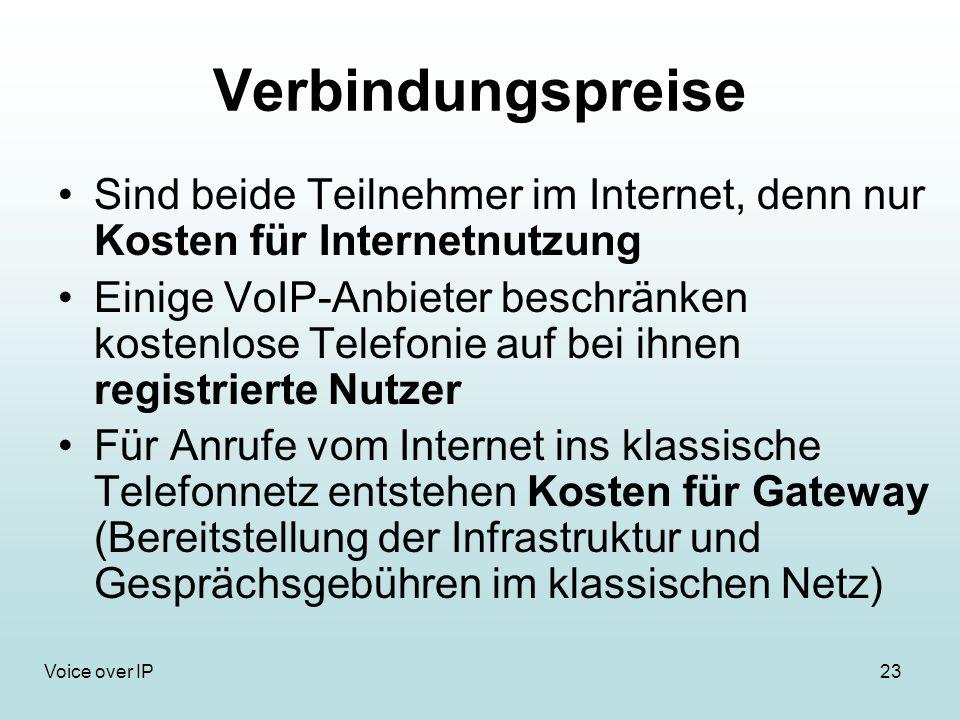 23Voice over IP Verbindungspreise Sind beide Teilnehmer im Internet, denn nur Kosten für Internetnutzung Einige VoIP-Anbieter beschränken kostenlose Telefonie auf bei ihnen registrierte Nutzer Für Anrufe vom Internet ins klassische Telefonnetz entstehen Kosten für Gateway (Bereitstellung der Infrastruktur und Gesprächsgebühren im klassischen Netz)