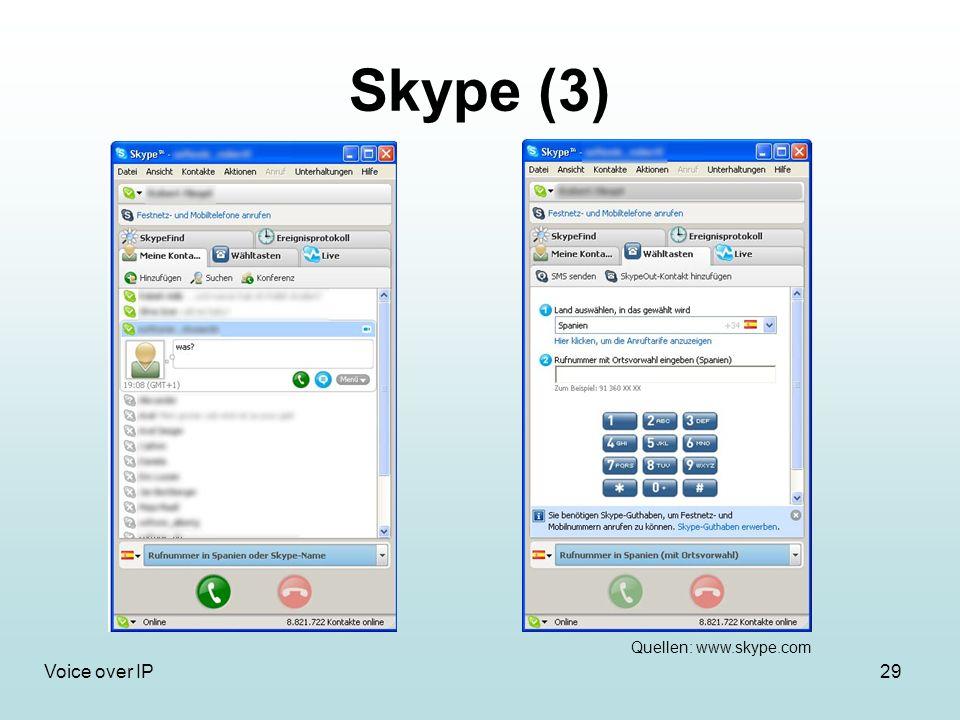 29Voice over IP Skype (3) Quellen: www.skype.com