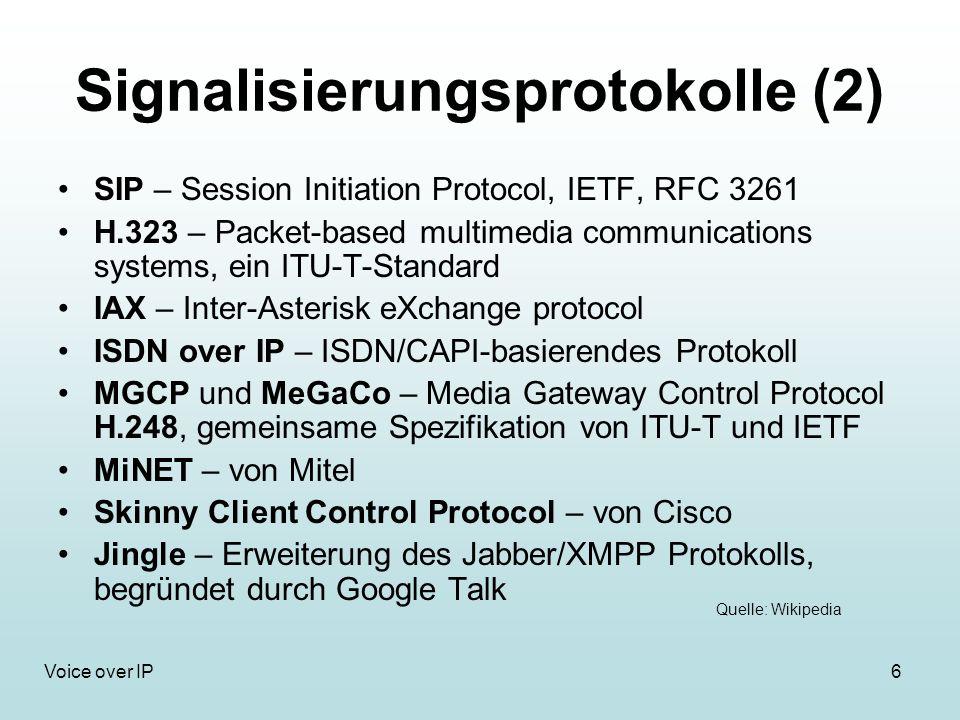 17Voice over IP Qualitätsmerkmale Datenpakete müssen als getreues Abbild des ursprünglichen Datenstroms beim Gegenüber ankommen Datendurchsatz hängt von Codierung ab Erforderliche Bandbreit: 100Kbit/s (64kbit/s + Overhead der Kommunikationsprotokolle) Einweglaufzeit (Latenz) max.