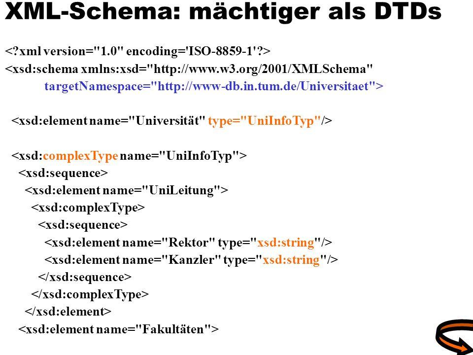 XML-Schema: mächtiger als DTDs <xsd:schema xmlns:xsd=