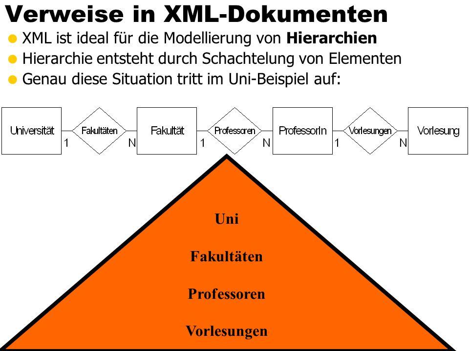 Verweise in XML-Dokumenten XML ist ideal für die Modellierung von Hierarchien Hierarchie entsteht durch Schachtelung von Elementen Genau diese Situati