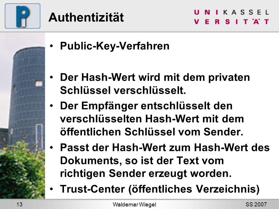 SS 2007 Authentizität Public-Key-Verfahren Der Hash-Wert wird mit dem privaten Schlüssel verschlüsselt.