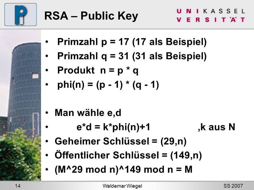 SS 2007 RSA – Public Key Primzahl p = 17 (17 als Beispiel) Primzahl q = 31 (31 als Beispiel) Produkt n = p * q phi(n) = (p - 1) * (q - 1) Man wähle e,d e*d = k*phi(n)+1,k aus N Geheimer Schlüssel = (29,n) Öffentlicher Schlüssel = (149,n) (M^29 mod n)^149 mod n = M Waldemar Wiegel 14