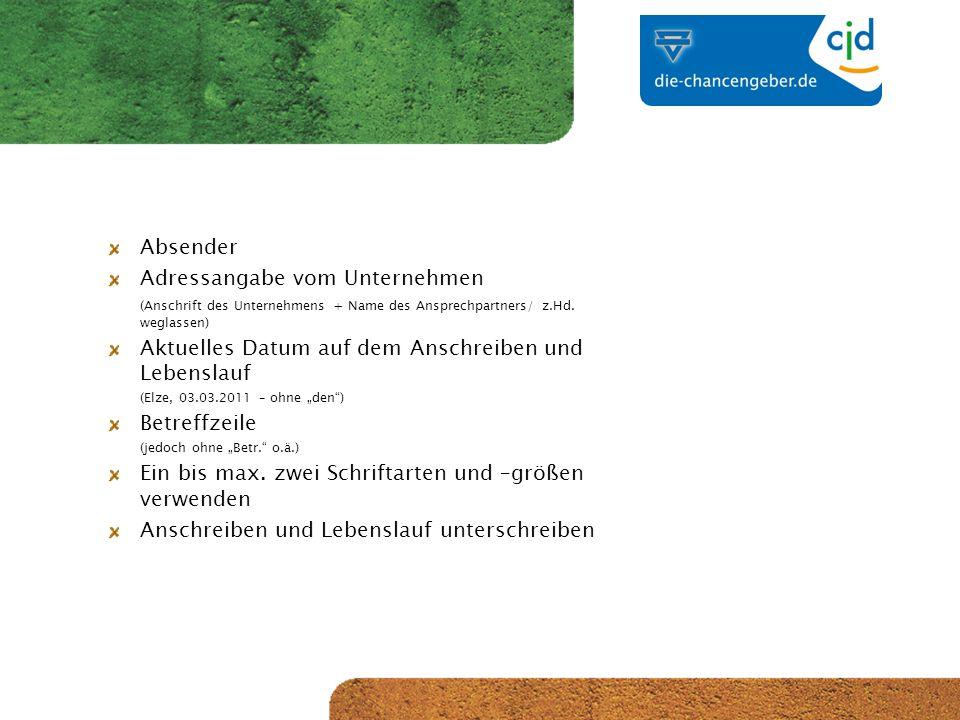 CJD-Musterstadt Absender Adressangabe vom Unternehmen (Anschrift des Unternehmens + Name des Ansprechpartners/ z.Hd.