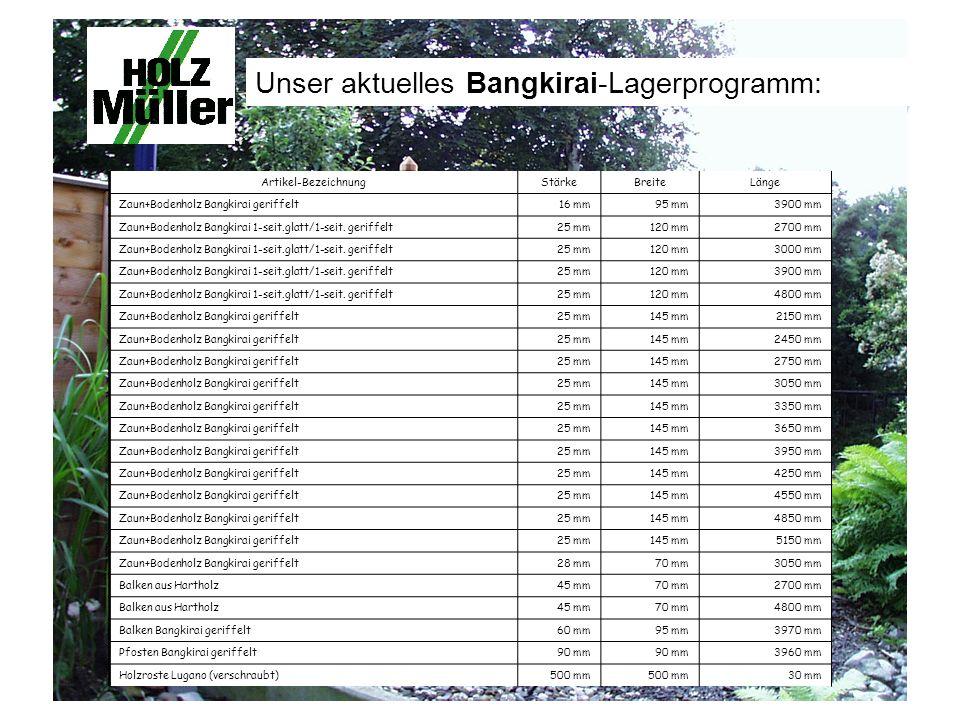 Unser aktuelles Bangkirai-Lagerprogramm: Artikel-BezeichnungStärkeBreiteLänge Zaun+Bodenholz Bangkirai geriffelt16 mm95 mm3900 mm Zaun+Bodenholz Bangkirai 1-seit.glatt/1-seit.