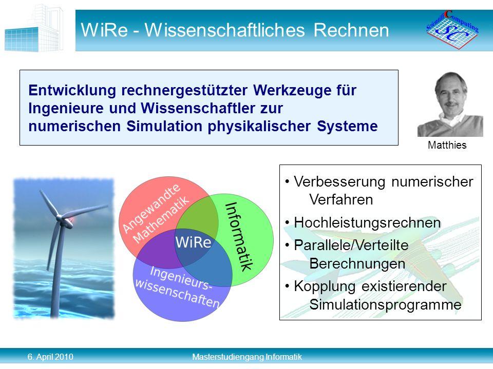 6. April 2010 Masterstudiengang Informatik WiRe - Wissenschaftliches Rechnen Matthies Entwicklung rechnergestützter Werkzeuge für Ingenieure und Wisse