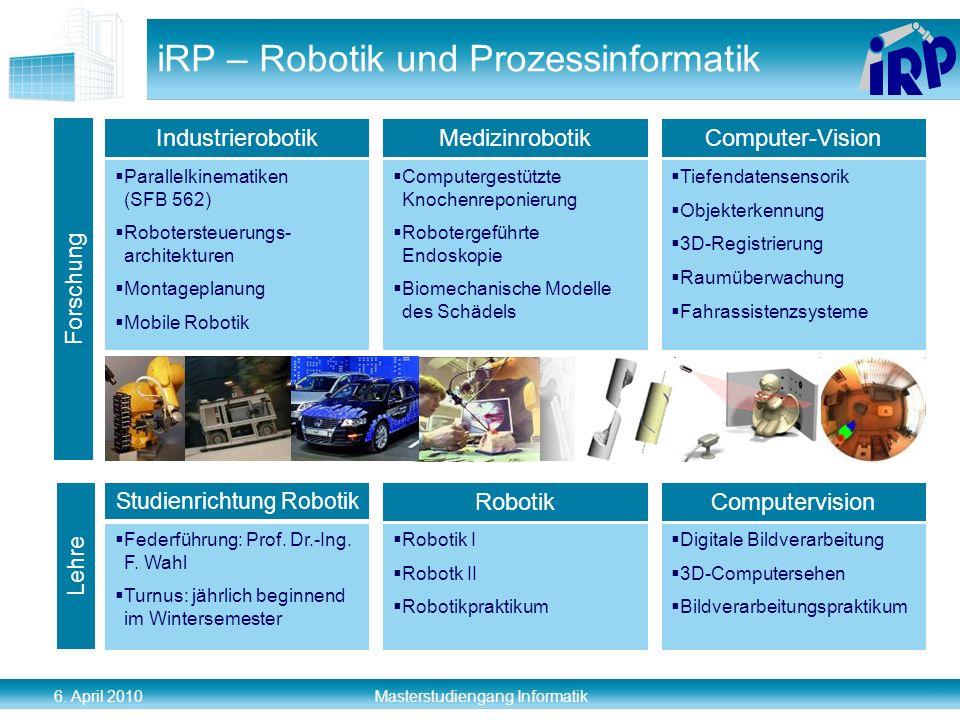 6. April 2010 Masterstudiengang Informatik iRP – Robotik und Prozessinformatik Parallelkinematiken (SFB 562) Robotersteuerungs- architekturen Montagep