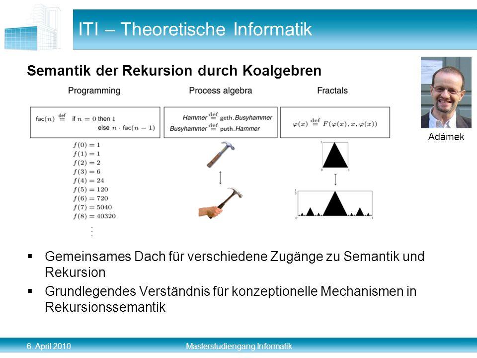 6. April 2010 Masterstudiengang Informatik Semantik der Rekursion durch Koalgebren Gemeinsames Dach für verschiedene Zugänge zu Semantik und Rekursion