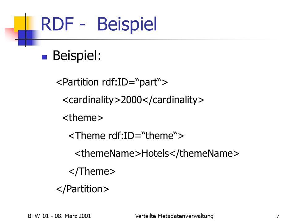 BTW 01 - 08. März 2001Verteilte Metadatenverwaltung7 RDF - Beispiel Beispiel: 2000 Hotels