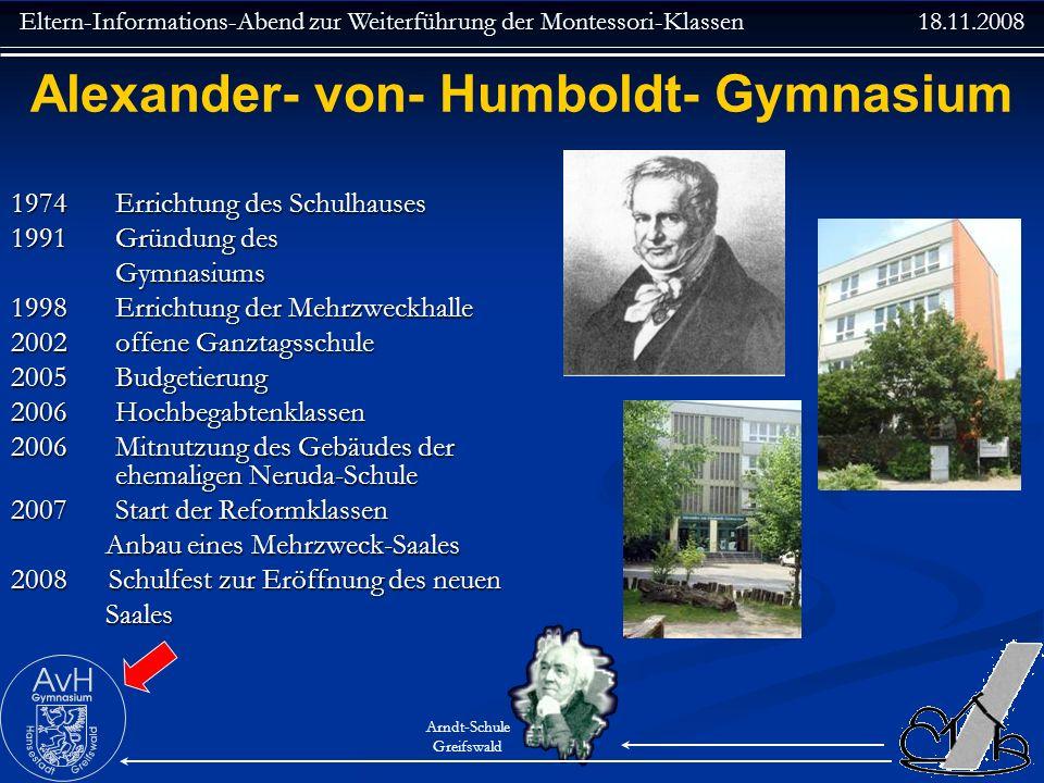 Eltern-Informations-Abend zur Weiterführung der Montessori-Klassen 18.11.2008 Arndt-Schule Greifswald Alexander- von- Humboldt- Gymnasium 1974 Erricht
