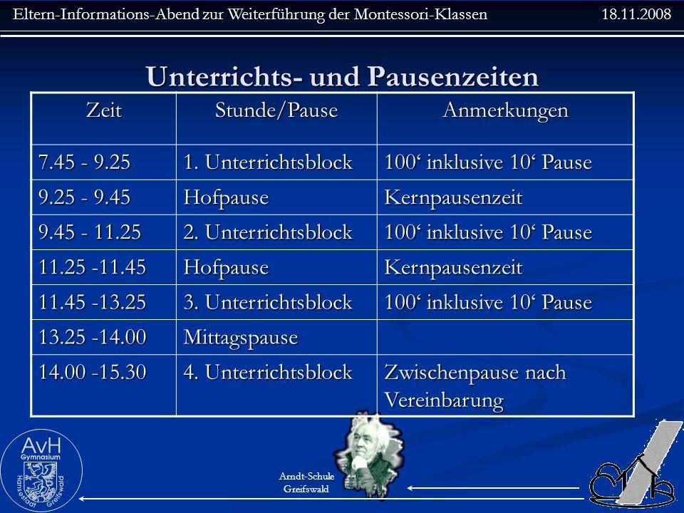 Eltern-Informations-Abend zur Weiterführung der Montessori-Klassen 18.11.2008 Arndt-Schule Greifswald Unterrichts- und Pausenzeiten ZeitStunde/PauseAn