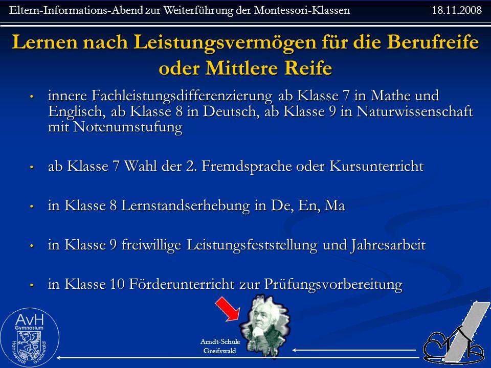 Eltern-Informations-Abend zur Weiterführung der Montessori-Klassen 18.11.2008 Arndt-Schule Greifswald Lernen nach Leistungsvermögen für die Berufreife