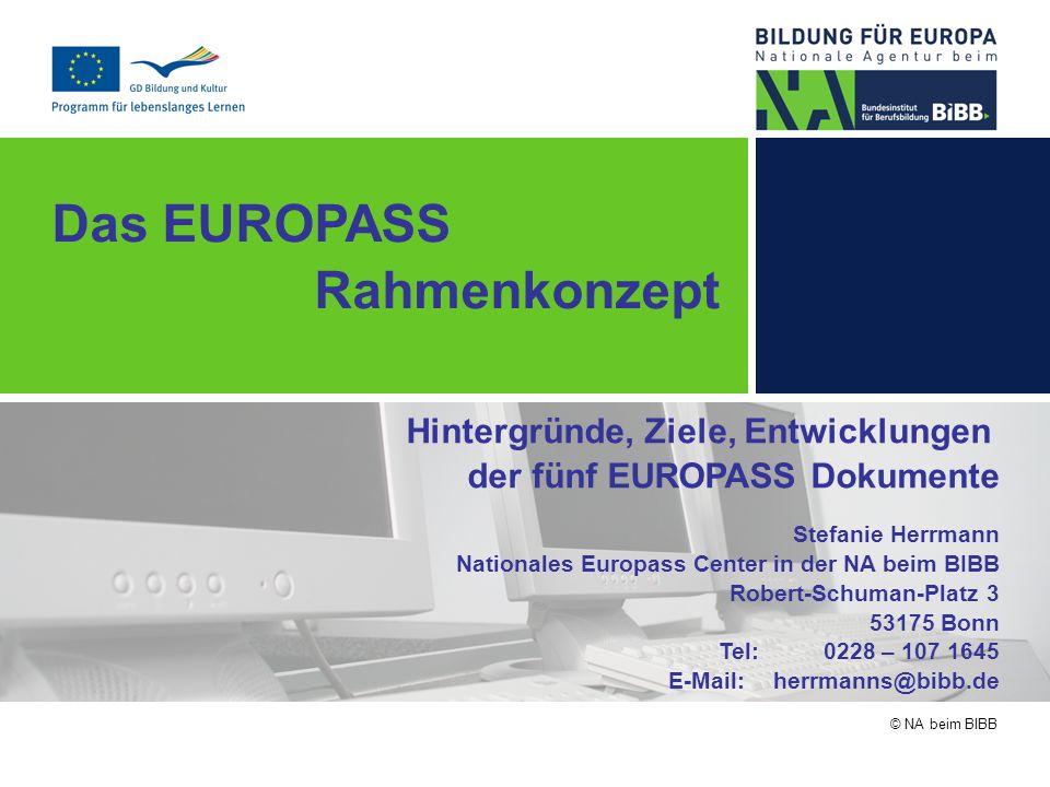 © NA beim BIBB Das EUROPASS Rahmenkonzept Hintergründe, Ziele, Entwicklungen der fünf EUROPASS Dokumente Stefanie Herrmann Nationales Europass Center