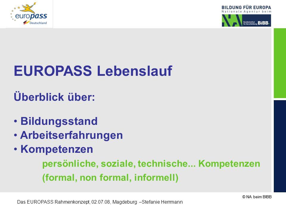 © NA beim BIBB Das EUROPASS Rahmenkonzept, 02.07.08, Magdeburg –Stefanie Herrmann EUROPASS Lebenslauf Überblick über: Bildungsstand Arbeitserfahrungen