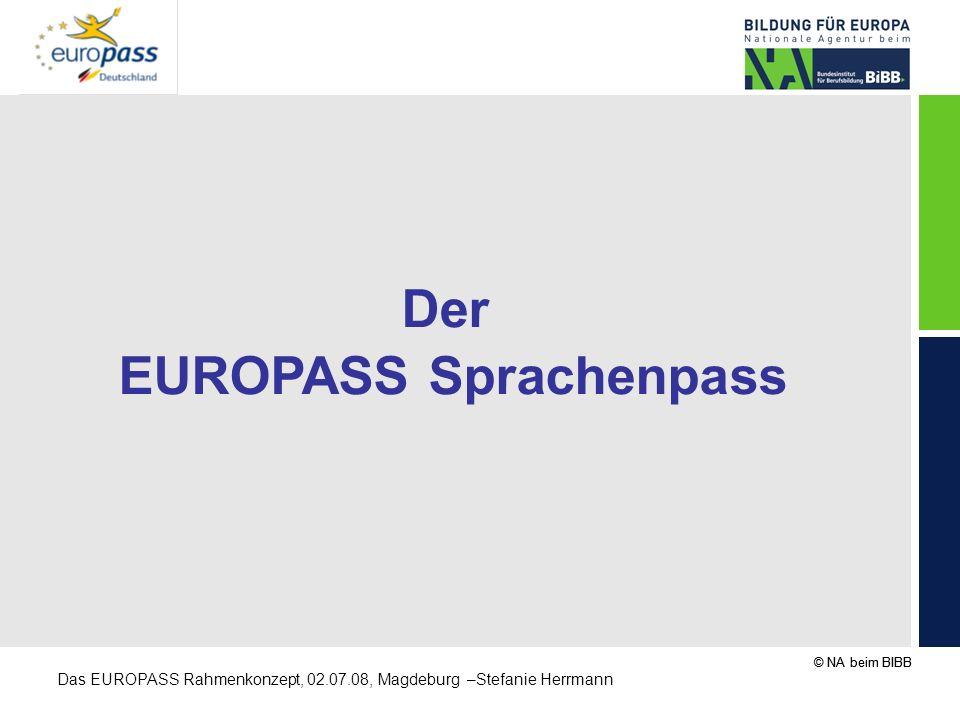 © NA beim BIBB Das EUROPASS Rahmenkonzept, 02.07.08, Magdeburg –Stefanie Herrmann Der EUROPASS Sprachenpass