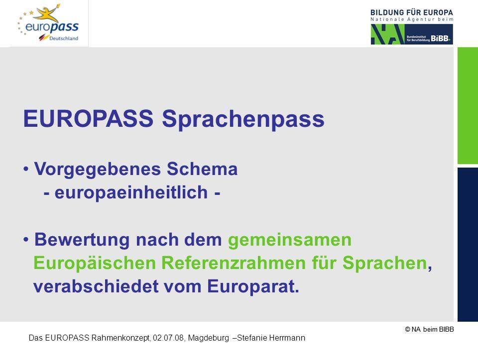 © NA beim BIBB Das EUROPASS Rahmenkonzept, 02.07.08, Magdeburg –Stefanie Herrmann EUROPASS Sprachenpass Vorgegebenes Schema - europaeinheitlich - Bewe