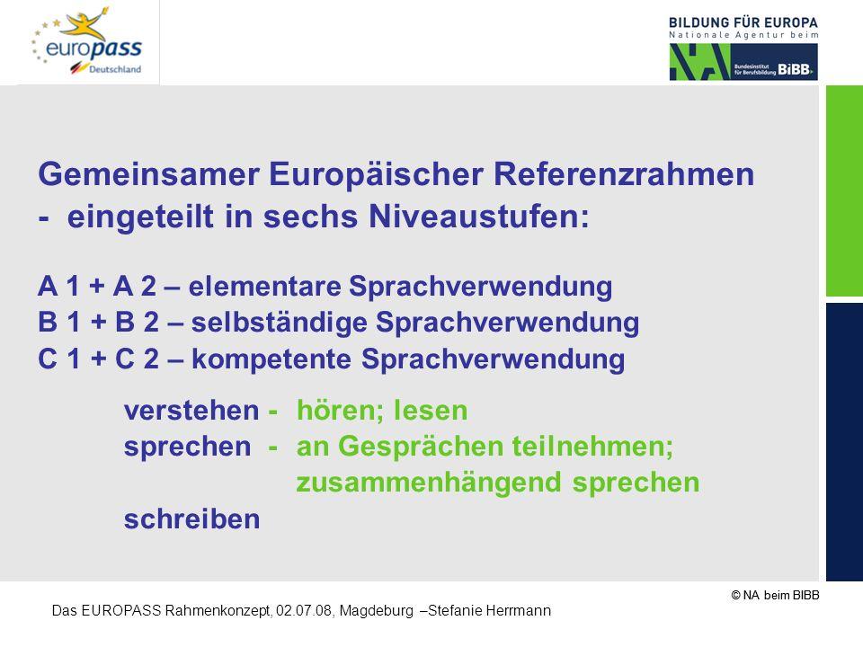 © NA beim BIBB Das EUROPASS Rahmenkonzept, 02.07.08, Magdeburg –Stefanie Herrmann Gemeinsamer Europäischer Referenzrahmen - eingeteilt in sechs Niveau