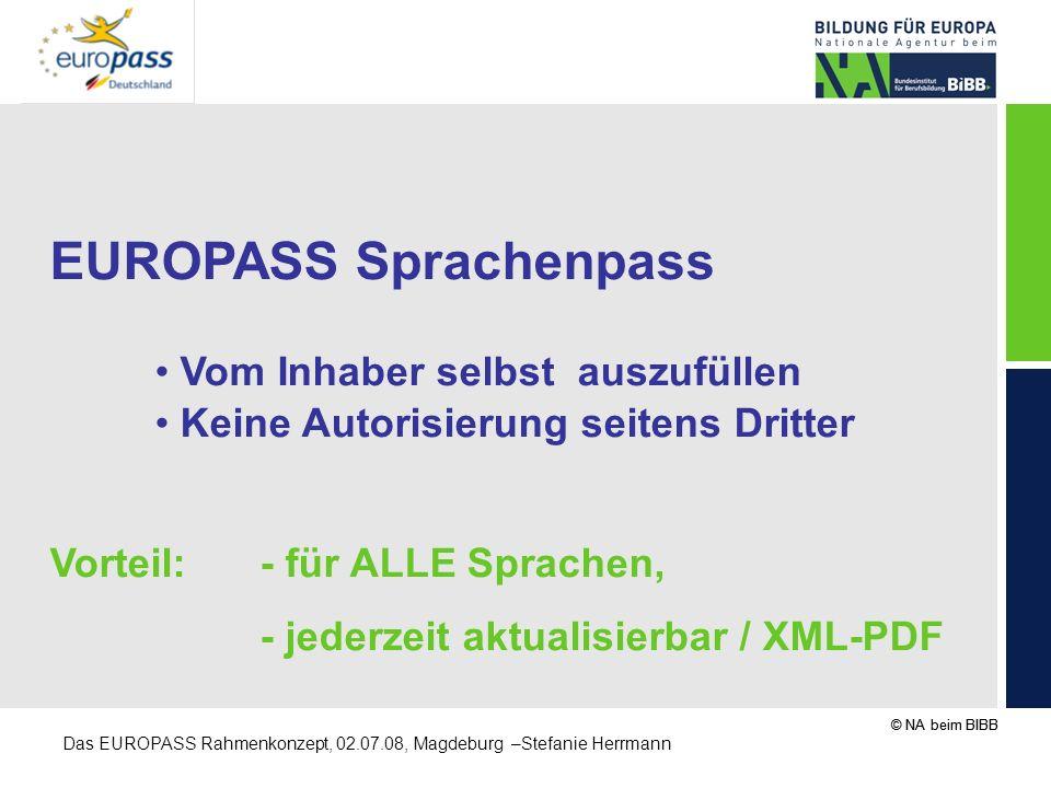 © NA beim BIBB Das EUROPASS Rahmenkonzept, 02.07.08, Magdeburg –Stefanie Herrmann EUROPASS Sprachenpass Vom Inhaber selbst auszufüllen Keine Autorisie