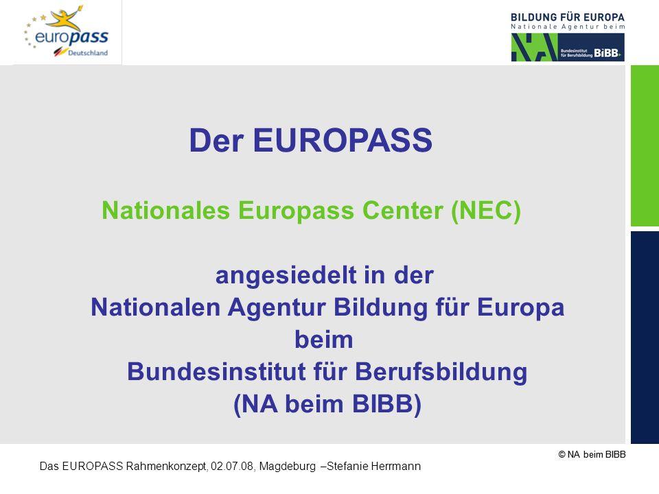 © NA beim BIBB Das EUROPASS Rahmenkonzept, 02.07.08, Magdeburg –Stefanie Herrmann Der EUROPASS Nationales Europass Center (NEC) angesiedelt in der Nat