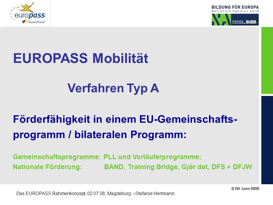 © NA beim BIBB Das EUROPASS Rahmenkonzept, 02.07.08, Magdeburg –Stefanie Herrmann EUROPASS Mobilität Verfahren Typ A Förderfähigkeit in einem EU-Gemei